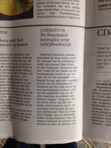 Ook De Standaard vermeldde kort het nieuws in haar zaterdageditie